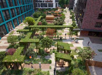 Авторское озеленение внутренней территории жилого комплекса Jazz